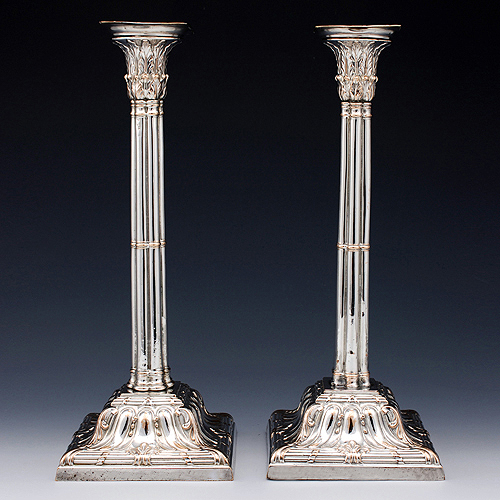 Matched pair of Georgian old Sheffield plate candlesticks by Henry Tudor