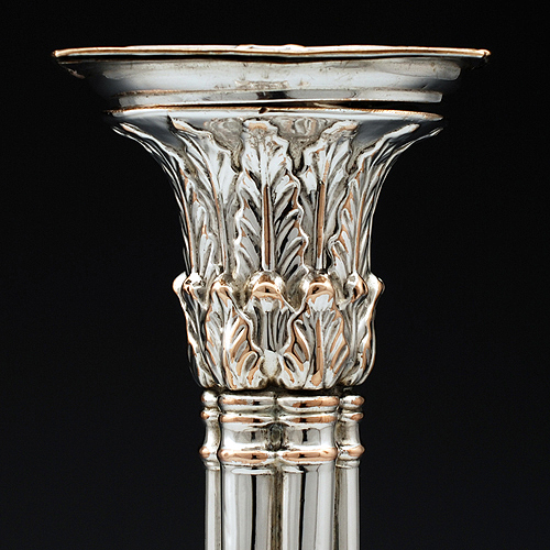 Candle holder with acanthus leaf detailing