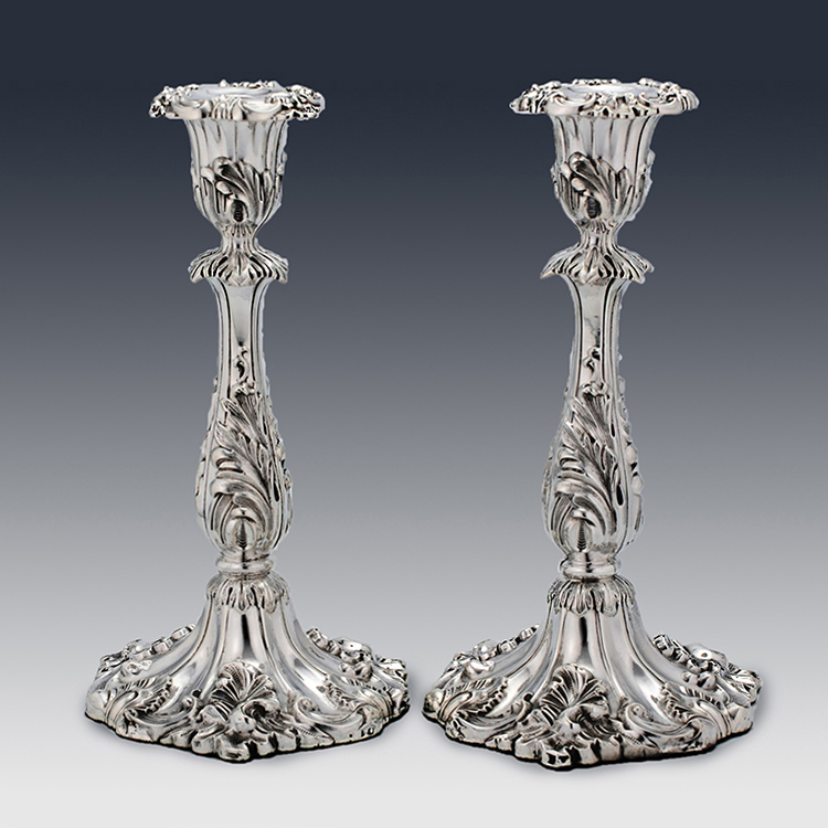 Pair of Victorian antique sterling silver candlesticks by Thomas Bradbury