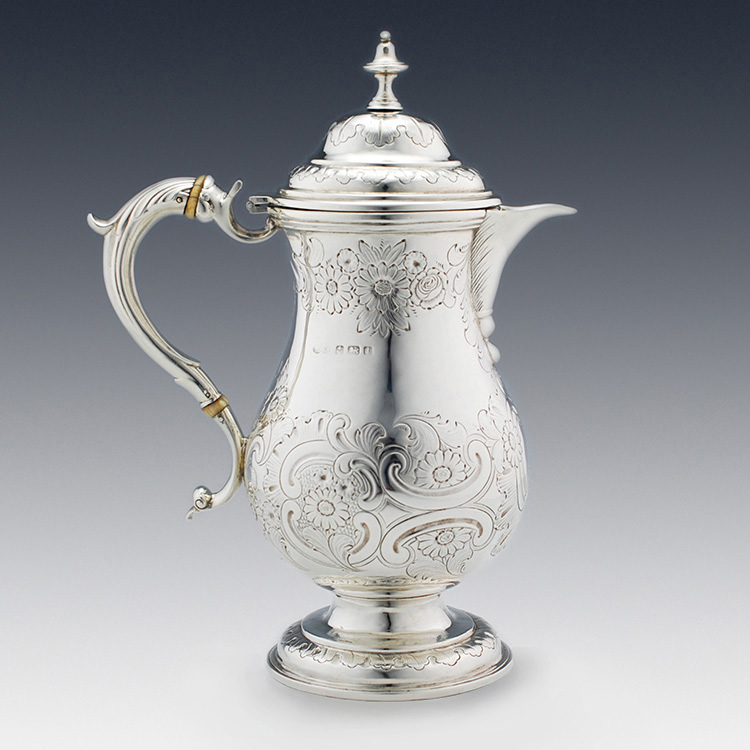 Bulbous form profile of silver coffee pot
