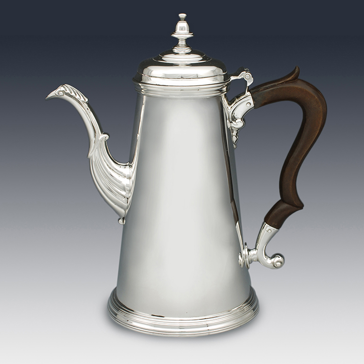 Full side profile of sterling silver coffee pot