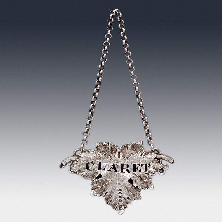 Claret antique sterling silver Victorian decanter label
