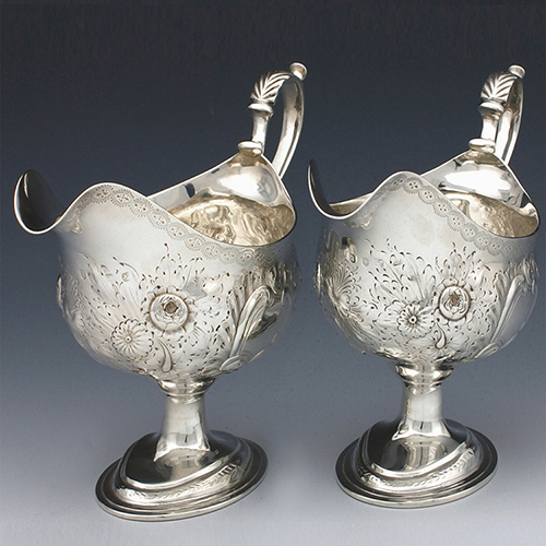 Antique silver pair silver sauce boats georgian william stephenson