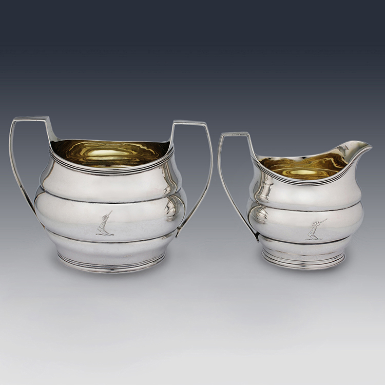 Georgian sterling silver sugar bowl and cream jug Robert and David Hennell