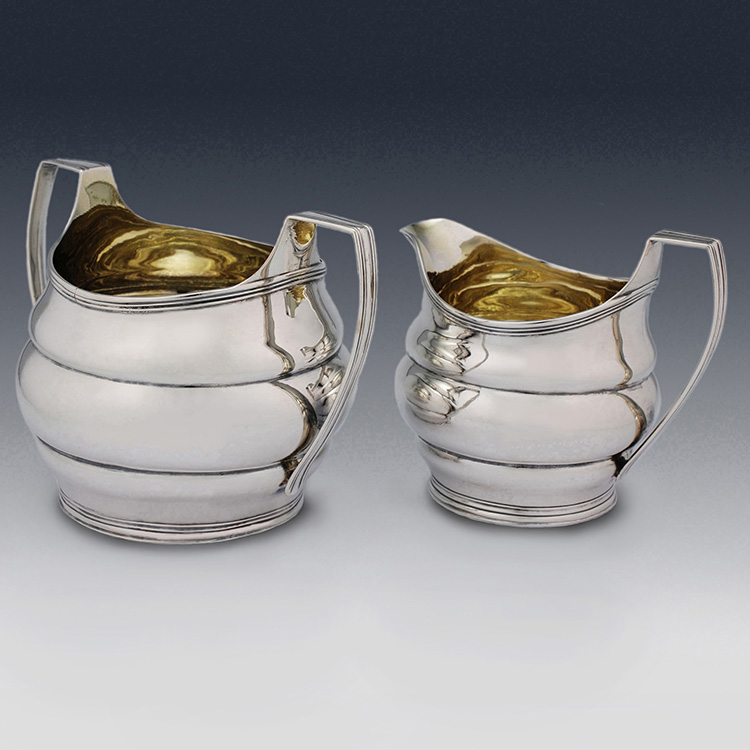 Matched Georgian antique sterling silver sugar bowl and cream jug