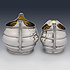 Bulbous design bordered detail silver cream jug and sugar bowl with gilt interiors