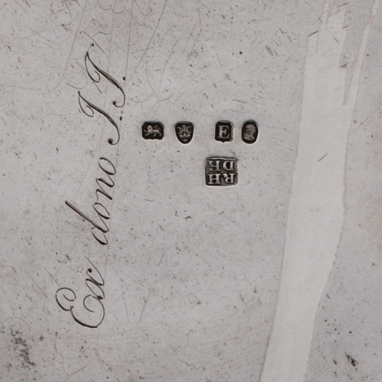 London assay marks, passant, leopards head, date letter, duty and makers mark