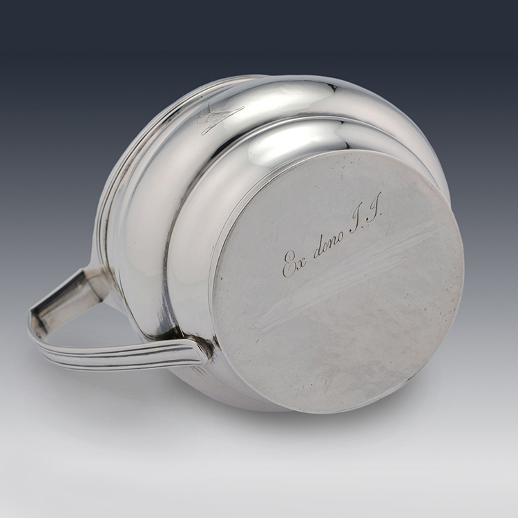Latin inscription ex dono TT to base of Georgian sterling silver cream jug
