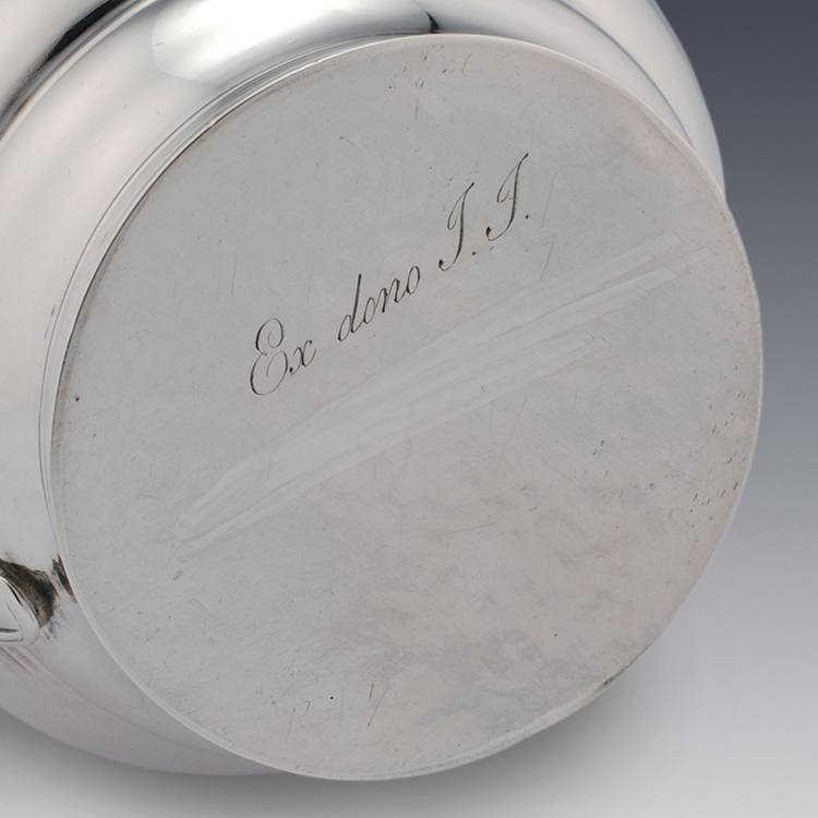 Ex dono TT Latin for as a gift TT to Georgian sterling silver cream jug