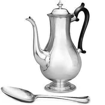 English Georgian sterling silver holloware, tableware, flatware and cutlery