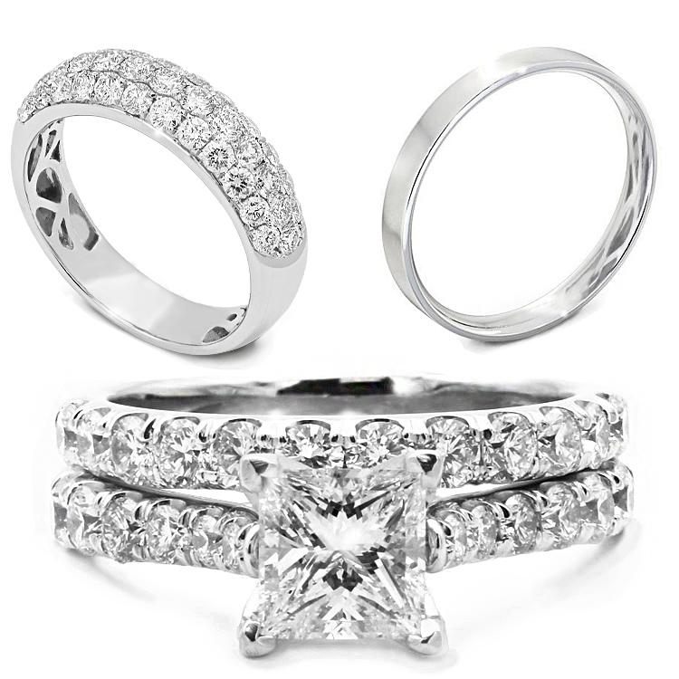 Diamond gemstone platinum, palladium, rose, yellow and white gold wedding rings and bands