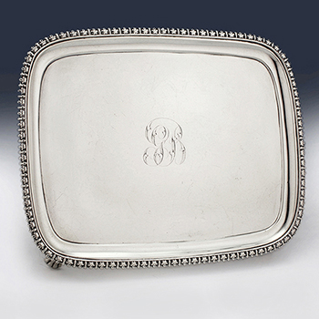 Antique sterling silver waiters, card trays and salvers