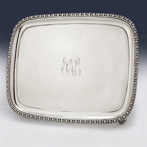 Antique sterling silver Georgian and Victorian waiters, salvers and card trays