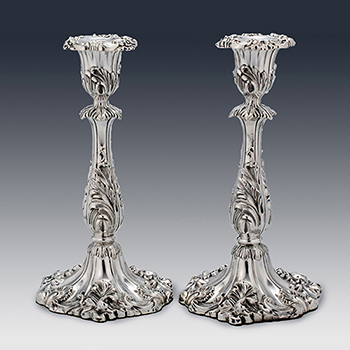 Antique sterling silver candlesticks and candelabras