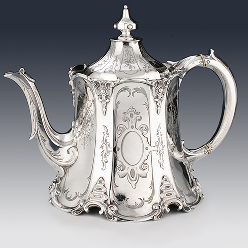 Antique sterling silver Georgian and Victorian teapots and tea sets