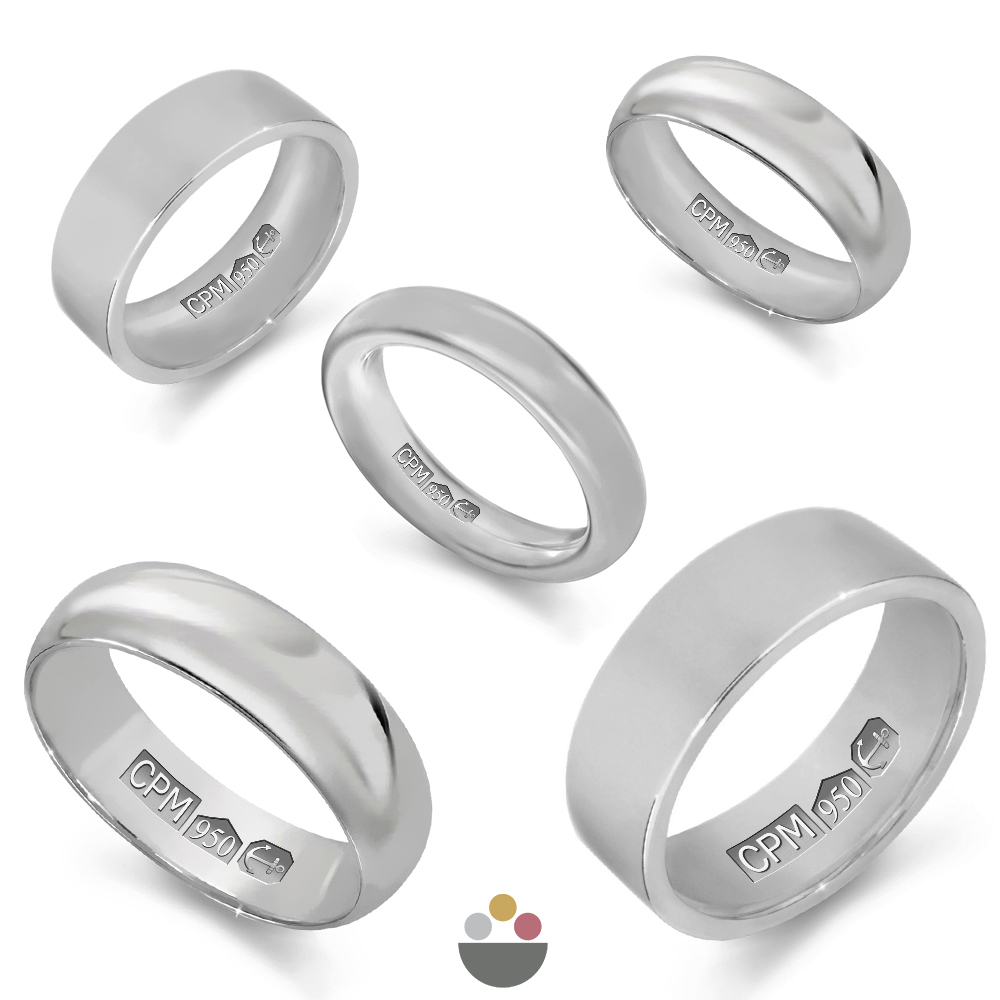 Platinum 950 plain wedding rings & bands