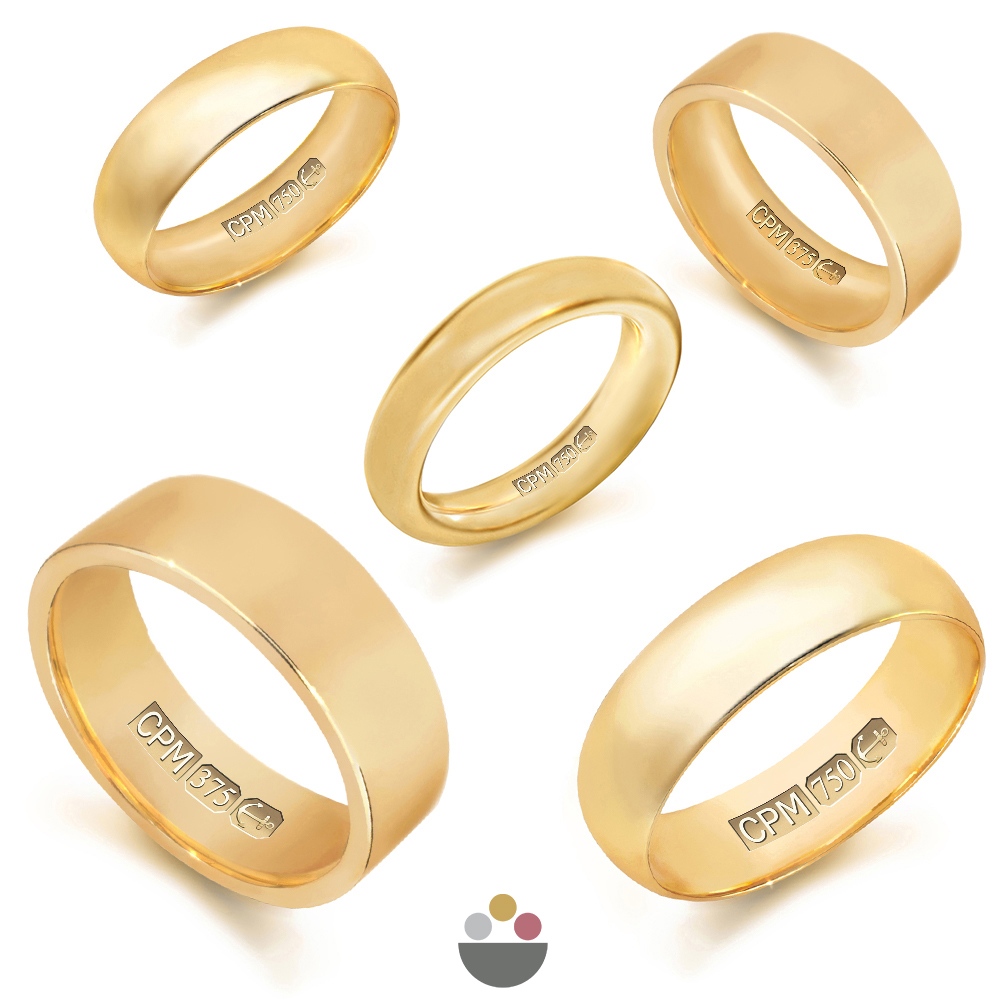 9ct & 18ct yellow gold plain wedding rings & bands