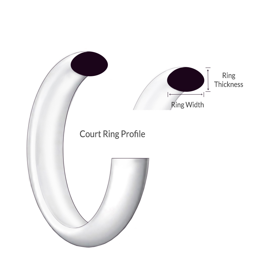Court shape profile platinum 950 ring