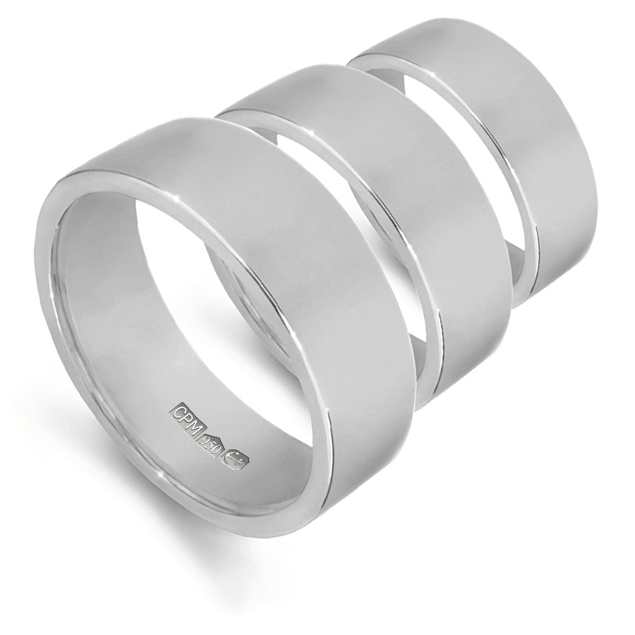 platinum 950 flat shape profile wedding rings and bands
