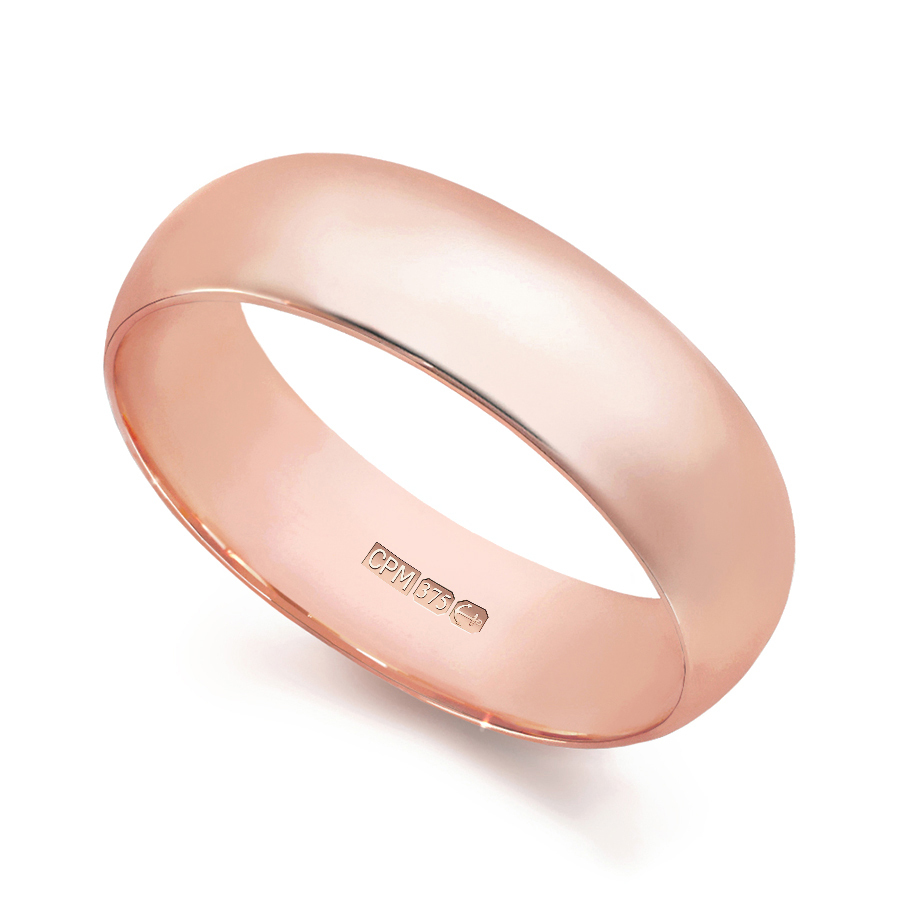 9ct rose gold d–shape profile wedding ring