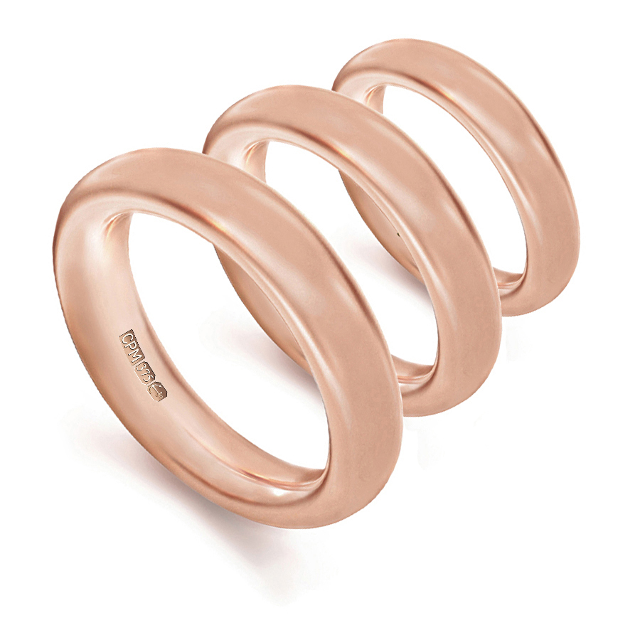 9ct rose gold halo shape profile wedding rings and bands