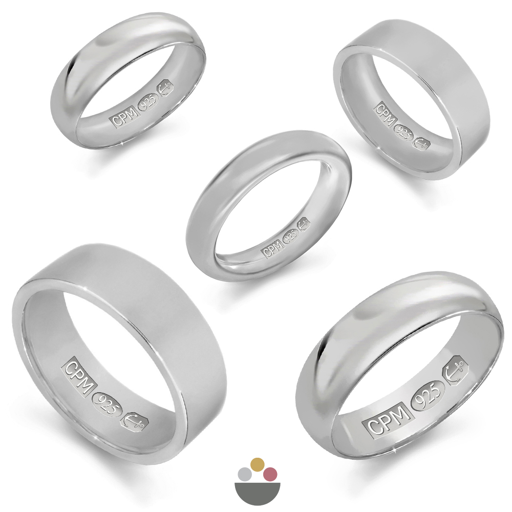 Sterling silver 925 plain wedding rings & bands