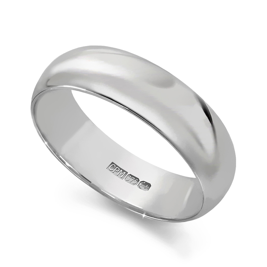 9ct white gold d–shape profile wedding ring