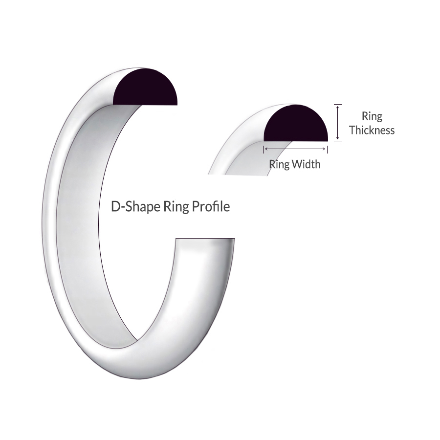 D–shape profile 9ct white gold ring