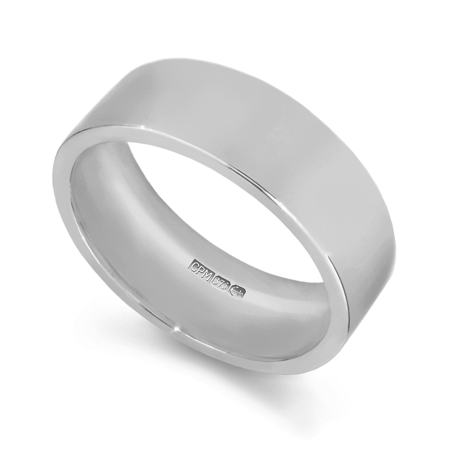 9ct white gold easy fit shape profile wedding ring