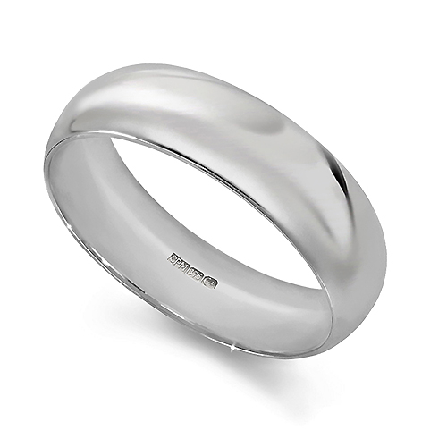 9ct White gold 375 court wedding ring