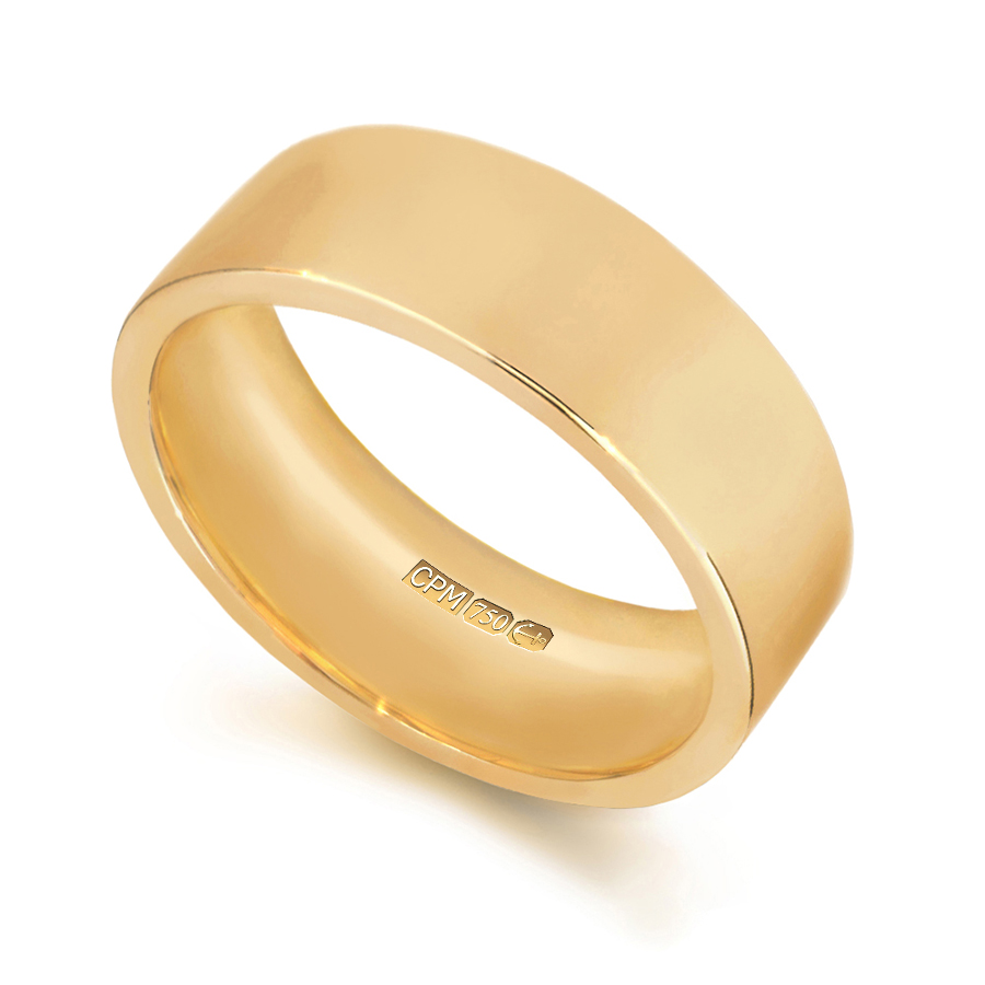 18ct yellow gold easy fit shape profile wedding ring