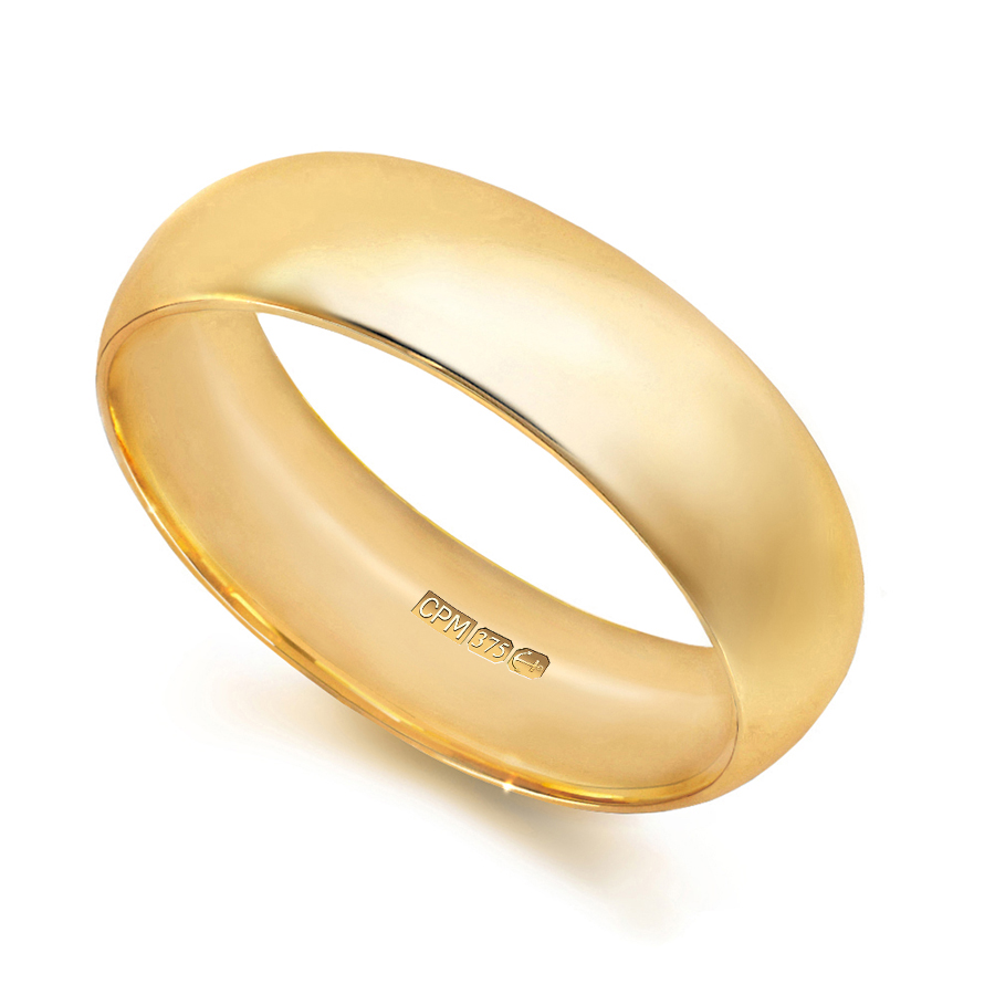 9ct yellow gold court shape profile wedding ring