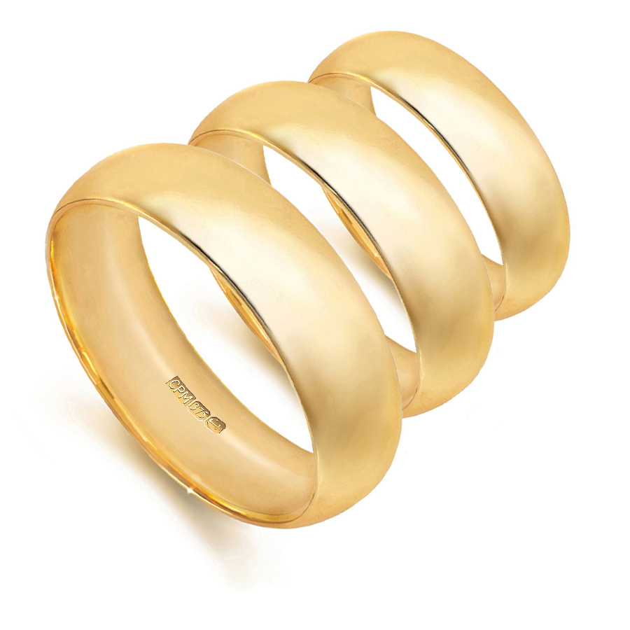 9ct yellow gold court shape profile wedding rings and bands