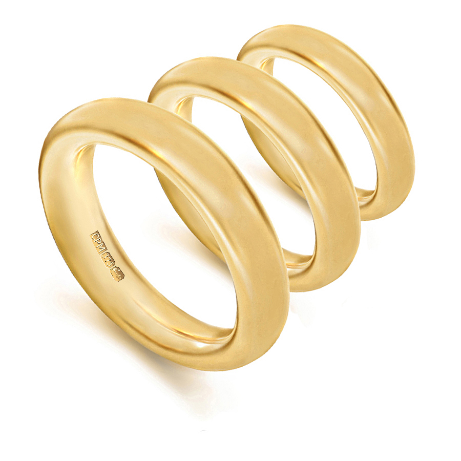9ct yellow gold halo shape profile wedding rings and bands