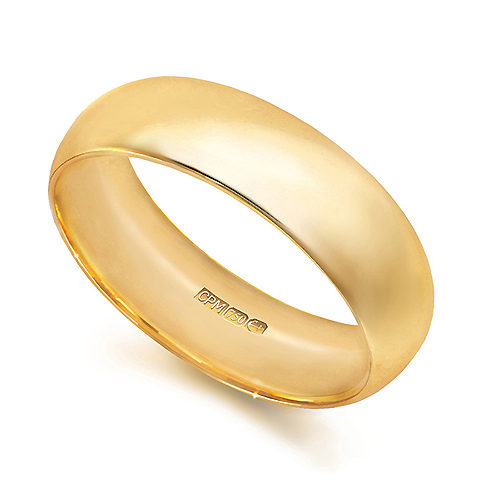 18ct Yellow gold 750 court wedding ring
