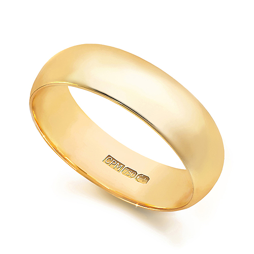 18ct Yellow gold 750 d-shape wedding ring