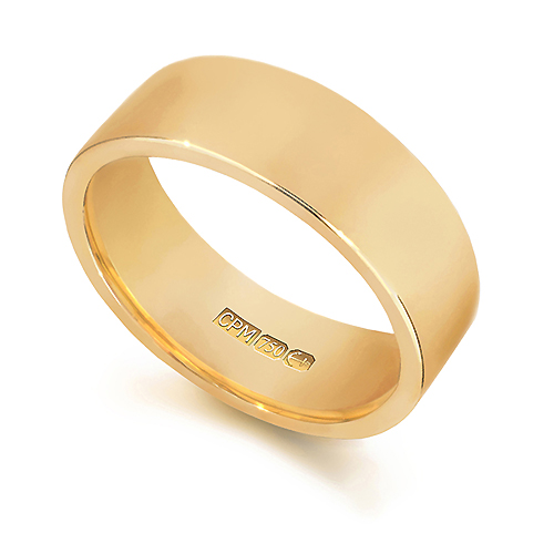 18ct Yellow gold 750 flat wedding ring